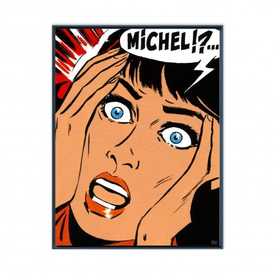 Michel !? - Papier Fine Art en caisse américaine noire